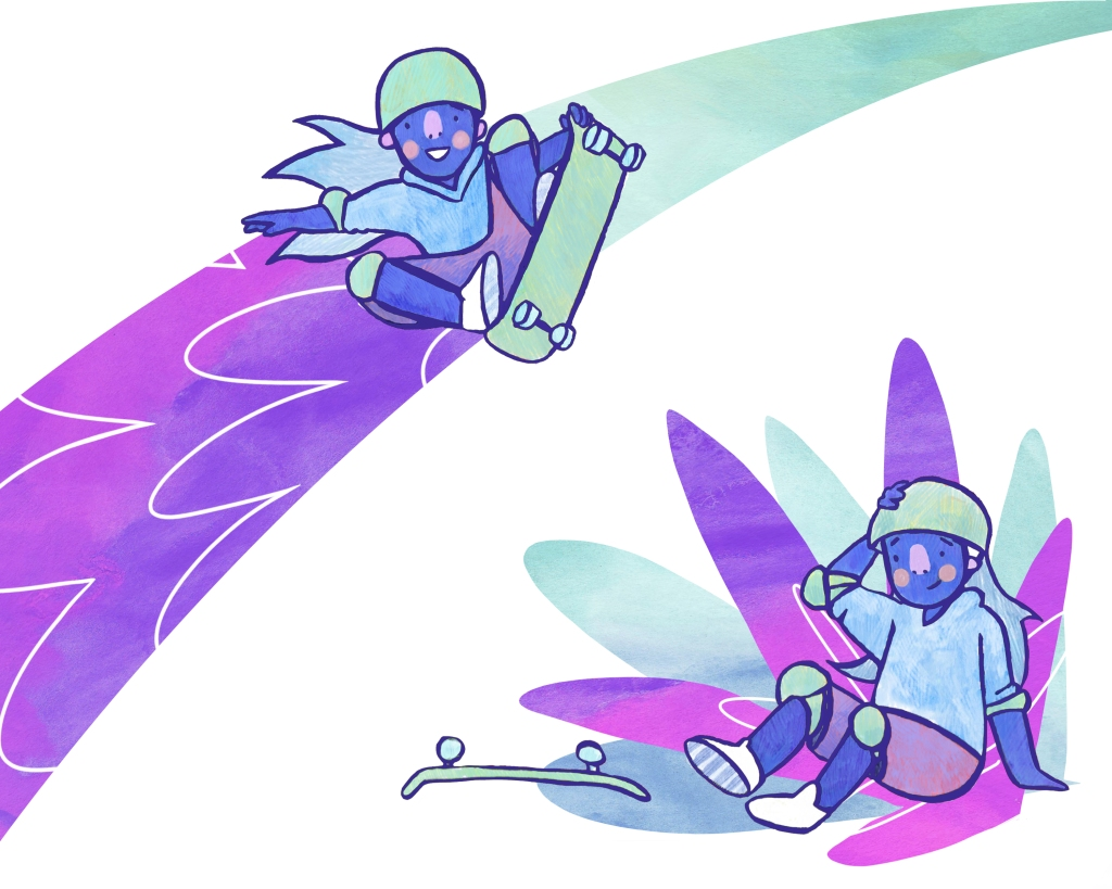 illustration of a skateboarding girl, doing a trick in the air, then holding her head after she has fallen. The image is coloured in pinks and blues.