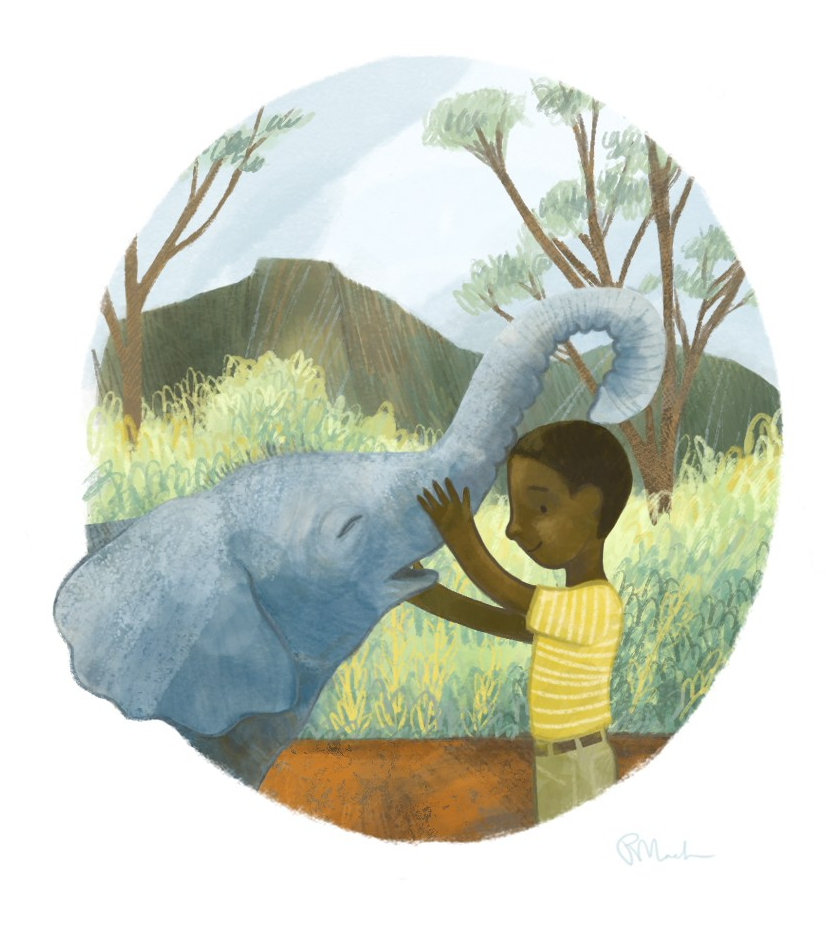 illustration of a boy and a young elephant. they are smiling at each other.