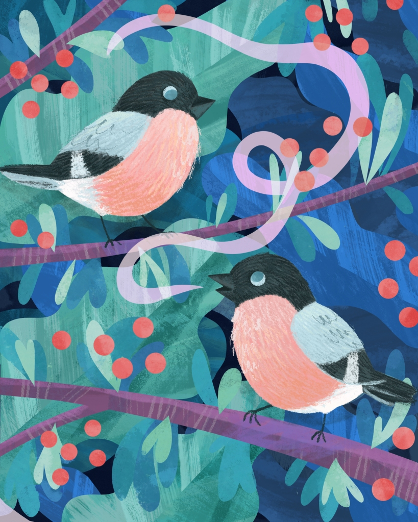illustration of two small birds on branches. The have pink crests and grey wings.