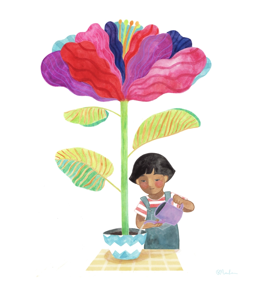An illustration of a girl watering a very large and colourful flower growing from a small pot.