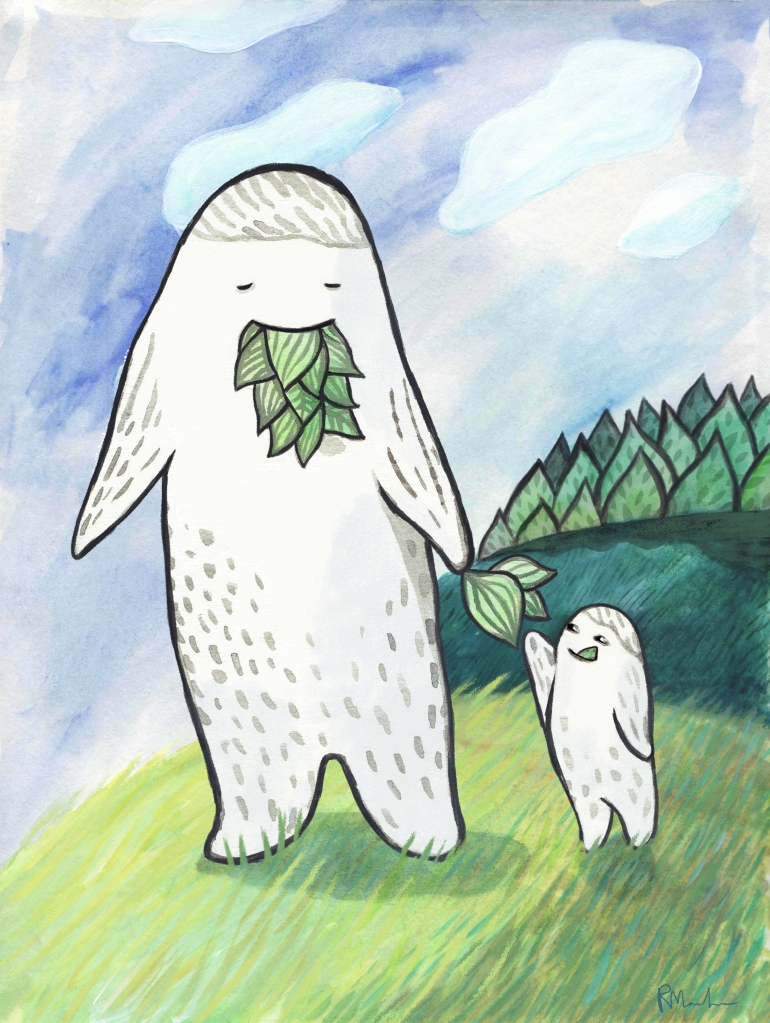 illustration of a large monster creature with a mouth full of leaves handing a leaf to a small monster creature while they walk on a field.