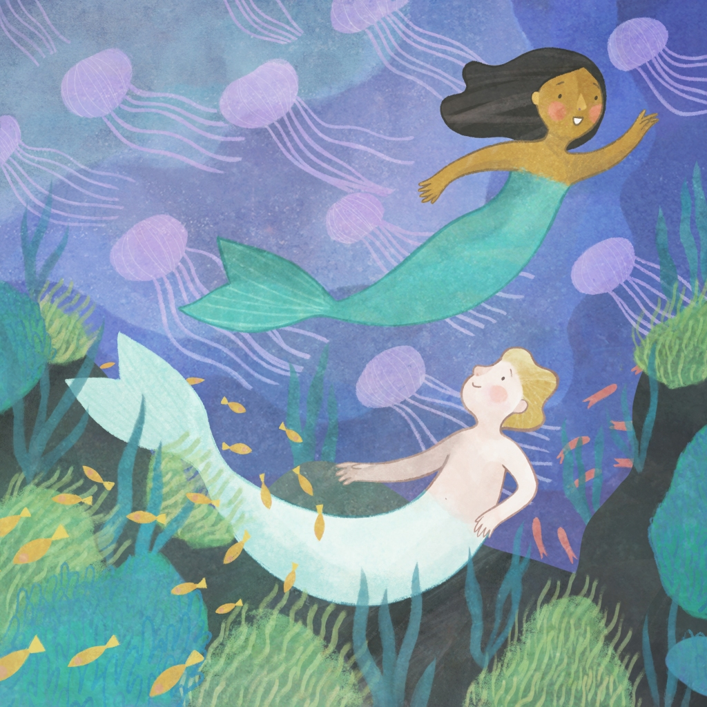 an illustration of two merchildren swimming with jelly fish.
