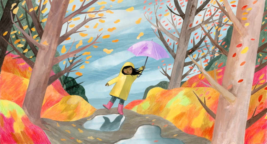 illustration of a girl in a colourful forest holding an umbrella that is being pulled by the wind.