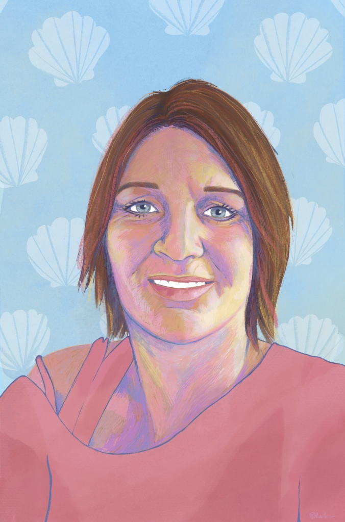 Digital painting of Jennifer. She is smiling and has straight brown hair that falls above her shoulders. She is wearing a pink shirt that falls of her right shoulder. The background is light blue with lighter blue clamshells all over.