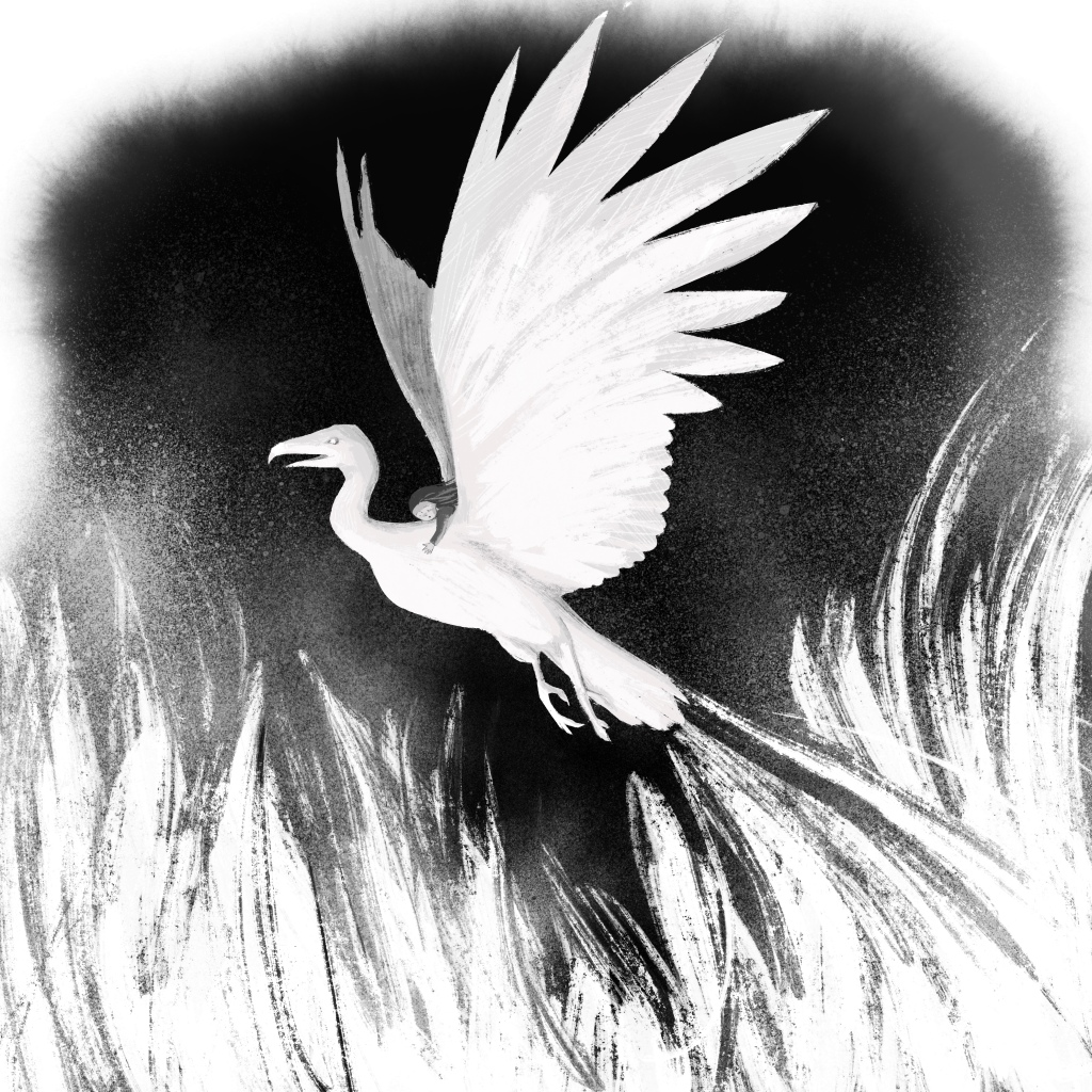 black and white illustration of a girl riding the back of a very large bird, above flames.