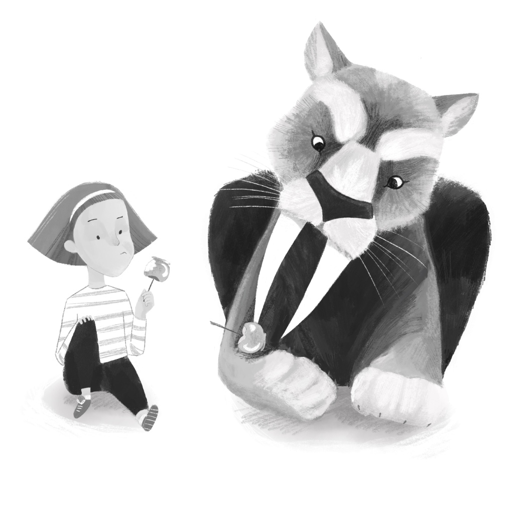 a black and white illustration of a girl and a sabretooth tiger sitting and eating candy apples. The tiger's candy apple is stuck on the end of his large tooth.