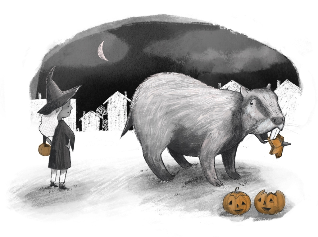 black white and orange illustration of a girl dressed as a witch looking sternly at a large rodent who is eating the top of a jack o lantern, which is orange.