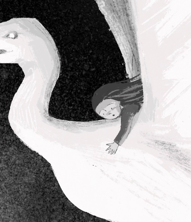 black and white illustration, close up of girl's face while she is riding a large bird.