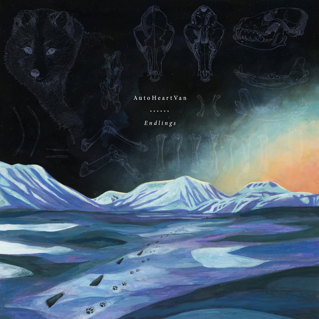 An album cover with the text: AutoHeartVan (artist), Endlings (album title). Painted artwork depicting a tundra rendered in blues, purples, and greys, with a snow covered mountain range in the distance. The sky, which fills up the top half of the image, is black with a fading blue and yellow light emanating from the right side. On the ground there are human and fox footprints, the human prints walking towards us, the fox prints walking away. On the sky there are faded scientific looking drawings in grey of an Arctic fox's face, skull from top, bottom and in profile, jawbone, leg bones, vertebrate and other bones. ⁠