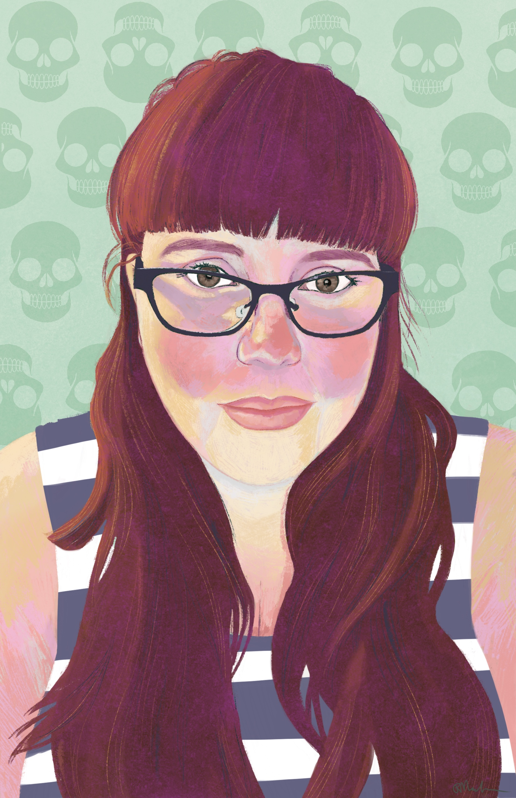 Digital painting of Amber Dawn. She is Caucasian with long red hair and black glasses. She is wearing a white and navy sleeveless top. The background is pastel green with darker green skulls.