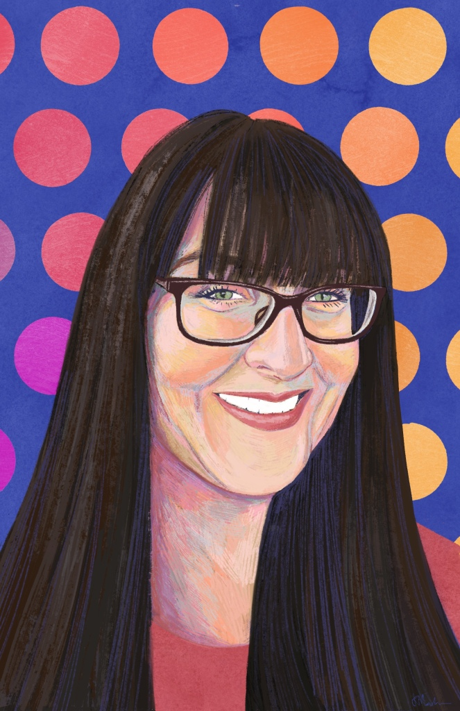 A digital painting of Bridgette. A smiling Caucasian woman with long dark brown hair, bangs and black glasses. She wears a coral coloured shirt. The background is a pink and orange polkadot pattern with purple underneath.