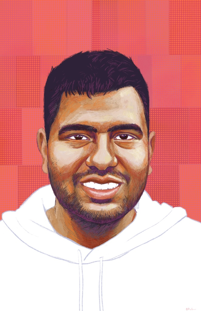 Digital painting of Daniel, a young man with brown skin, short dark hair, and beard stubble smiling at the viewer. He wears a white hoodie. His shoulders and head are pictured. The background is decorative with red, orange and pink blocks and dots.