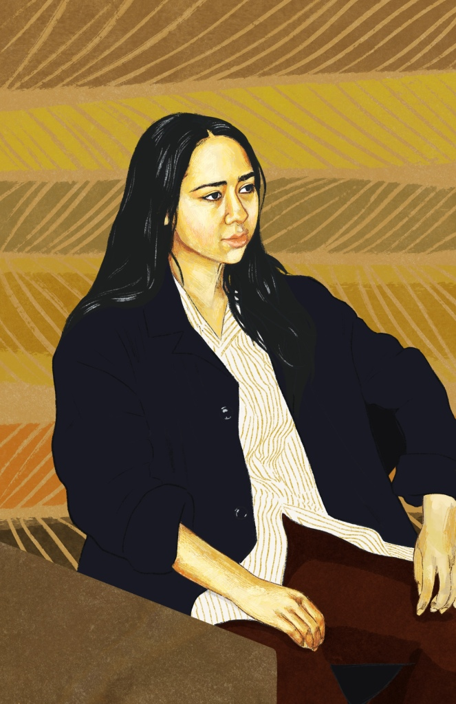 Digital painting of Jenn, a young woman of Asian descent. She is looking away from the camera with a thoughtful expression and her hands resting on her lap.. She has long black her falling past her shoulders and is wearing a cream and yellow striped button-up shirt with a dark blue unbuttoned cardigan overtop and brown pants.. The background is a brown yellow and green striped design.