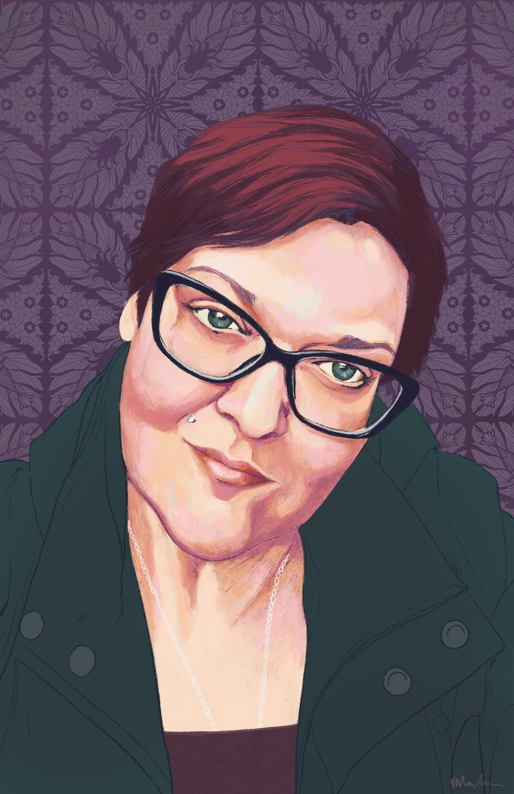 Digital painting of Kelly. She is smiling with her mouth closed and her head tilted. She is Caucasian with brown short hair, black glasses and a dark green coat. The background is dark purple with a darker purple abstract design.