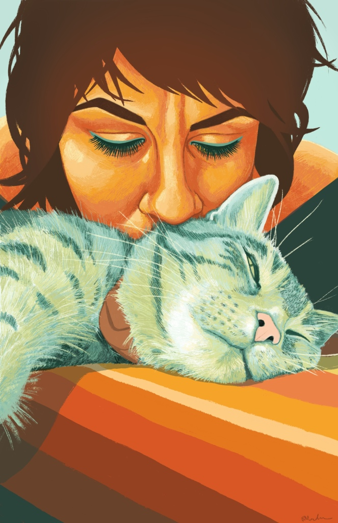 Lindsay is a Caucasian woman with brown hair, and she is rendered in shades of yellow and orange. She is looking down at and kissing the top of her cat's head, who is rendered in shades of green and lying on a blanket striped in shades of orange, yellow and brown.