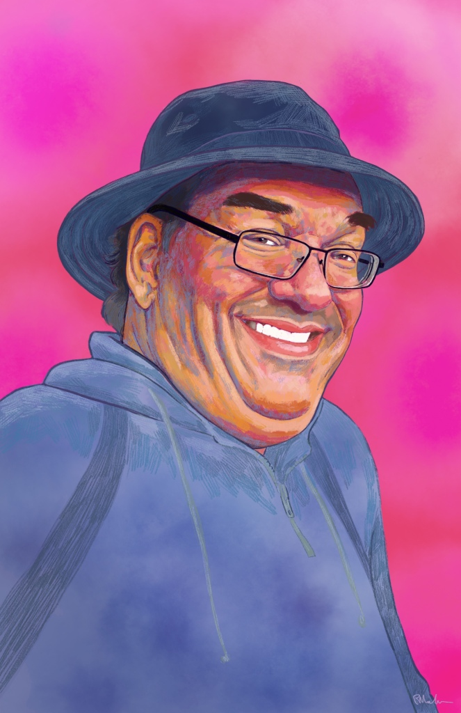 Digital painting of Matthew's face and shoulders. Matthew is a middle aged Cuacasian man with dark hair. He is wearing a bucket hat and hoodie in shades of navy blue, as well as glasses, and is smiling at the viewer. The background is decorative in reds and pinks.