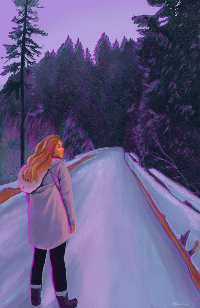 A digital painting of Nora, who stands facing away from us and looking to her right on a snow covered bridge leading into a forest of Evergreen trees. It is early evening and the sky is light purple, the snow is shades of purple and blue. Nora is a young Indigenous woman with long brown hair, wearing a fur trimmed hooded grey coat, with a purse strap visible on her right side. She wears black pants and dark boots that are just above her ankle with grey socks. The entire image is slightly blurry with edges of bright magenta and light blue adding additional outlines to Nora and the objects in the image.