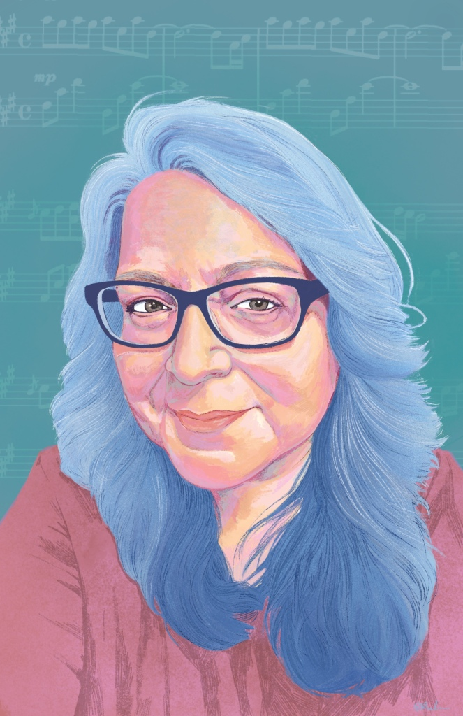 Digitally illustrated portrait of Theresa's face and shoulders. Theresa is a Caucasian middle aged woman with medium length slightly wavy light blue hair, dark blue rimmed glasses and is wearing a purple shirt. She is smiling slightly. The background is green with decorative music notes.