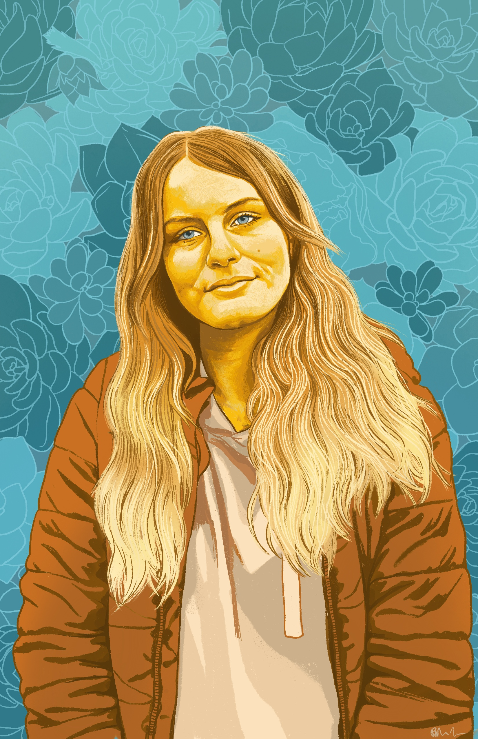 Digital painting of Vanessa, a young Caucasian woman with long wavy hair. Vanessa and her clothes are rendered in shades of orange, brown and warm yellow. Her head is tilted slightly to the left and her mouth is closed giving a very slight smile. She wears an unzipped coat over a hoody. Her eyes are light turquoise. The background is decorative with outlines of succulents in different shades of turquoise. ⠀