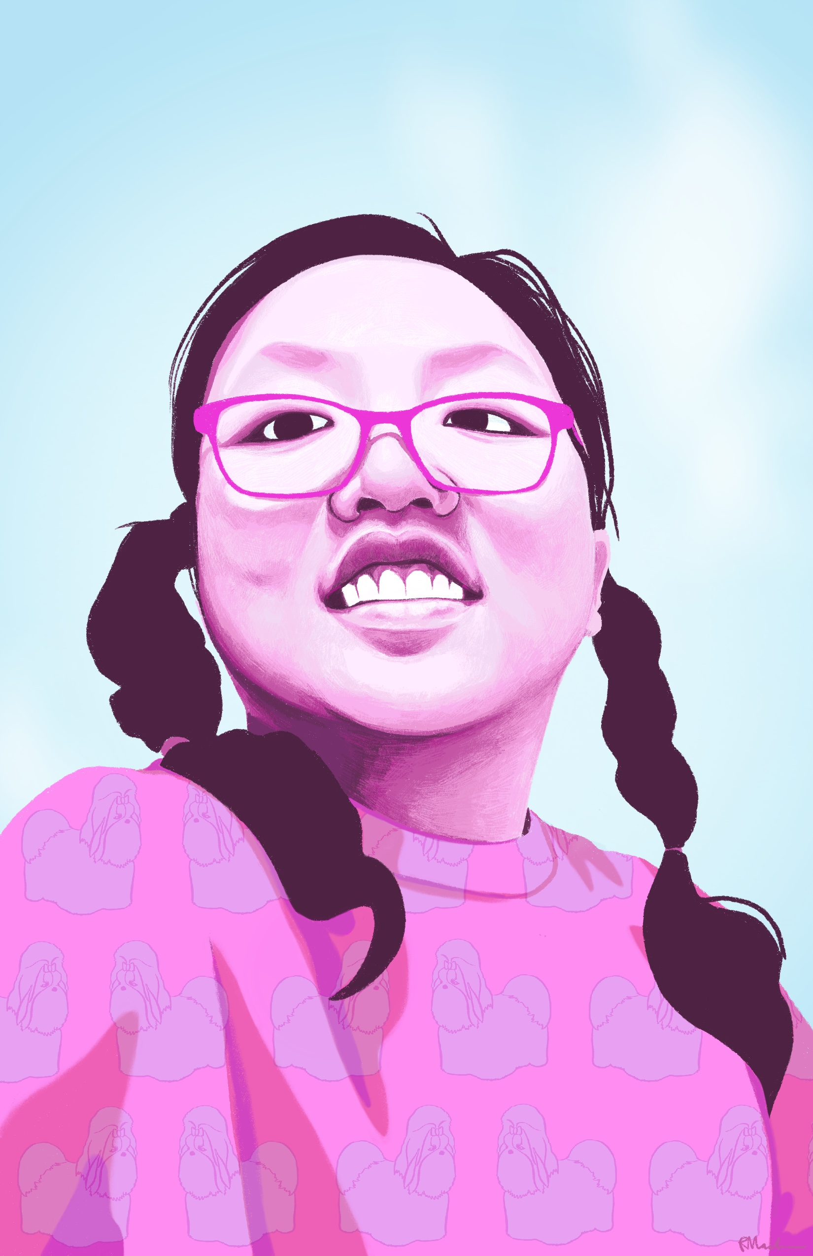A digital painting of Vicki, a young woman of Taiwanese descent, who is smiling and looking down at the viewer. Vicki is rendered in shades of pinks and purples, wears pink glasses and braided pigtails, and has a pattern of shih tzu dogs on her sweater. The background is light blue with a light source coming from the top right corner.