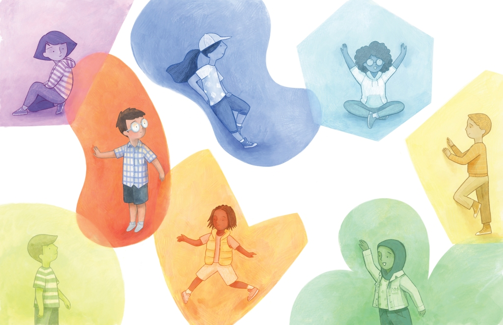 an illustration of many children floating around in mulcoloured and multi shaped bubbles.