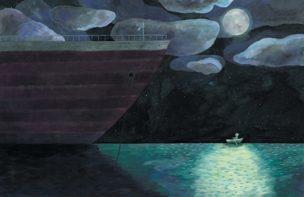 illustration of a large ship and a boy in a small rowboat in the ocean at night time, under the light of the moon.