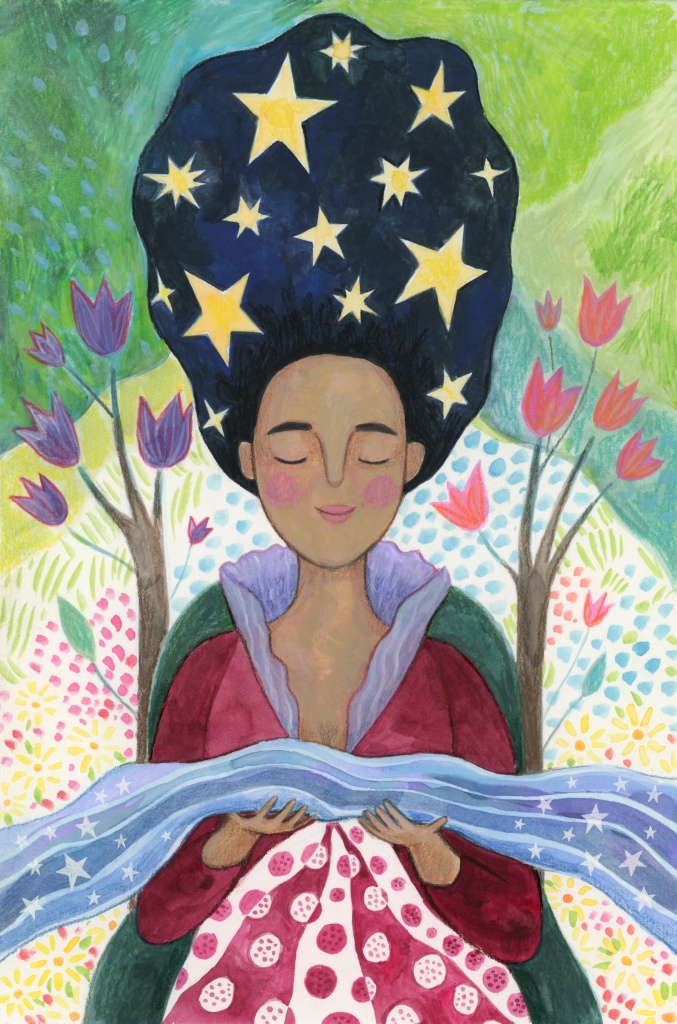 watercolour painting of The Empress, a woman with brown skin and black hair who is smiling slightly with her eyes closed. Her hair rises above her head to make a large wavy shape, and it contains thirteen yellow stars. She wears a ruby coloured dress with a purple lace frill, and holds a magical stream that floats over her lap and through her outstretched hands. she sits on a green throne with flowering branches growing upwards out of the left and right sides. She is surrounded by greenery and flowers in the background.