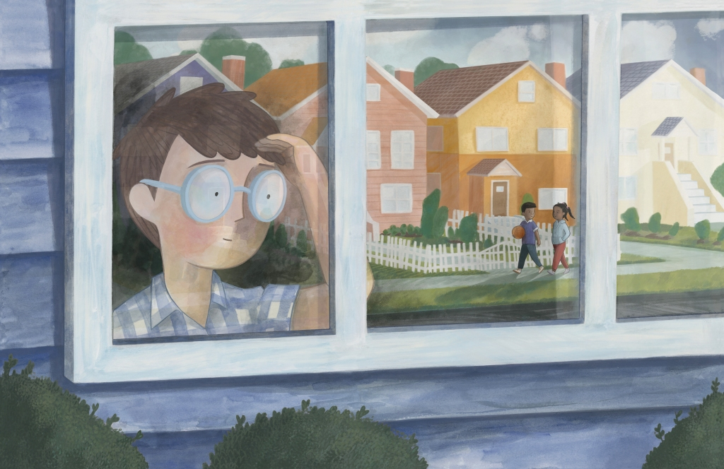 illustration of a boy looking out a window. The window pane reflects two children walking together, one holding a basketball. There are also houses in the reflection.