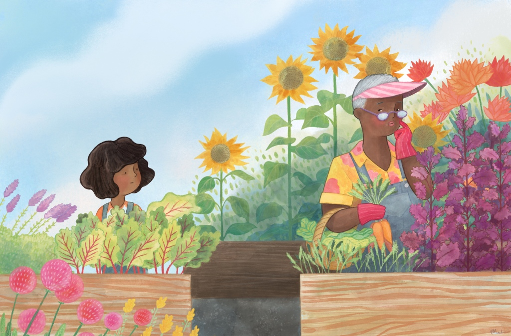 illustration of a girl and her grandmother in the garden.