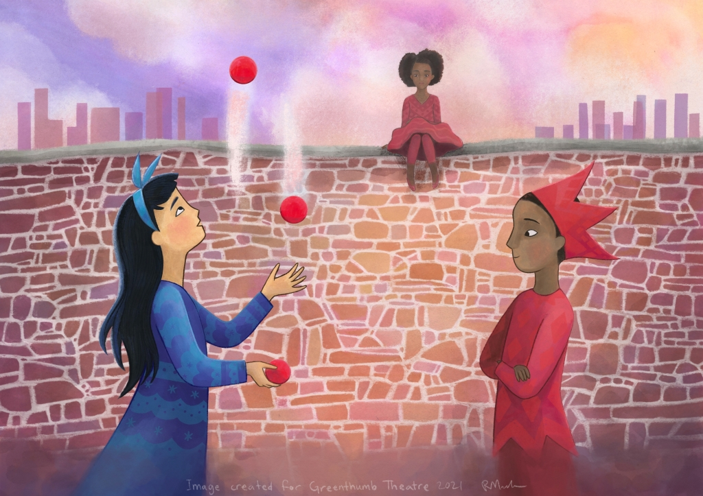 a girl wearing blue juggles while a boy wearing red watches. Behind them is a brick wall, which another girl wearing red sits on top of.